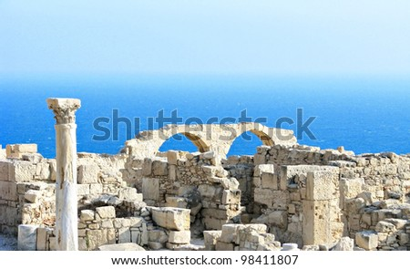 Cyprus, archaeological place front of the sea - stock photo