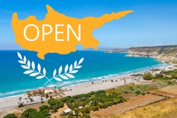 Cyprus beach. Logo is open on background beach in city of Limassol. Bird eye view of Kourion Beach landscape. Opening of resorts Cyprus for travelers. Tourist cruise to Cyprus. Mediterranean Sea Tour