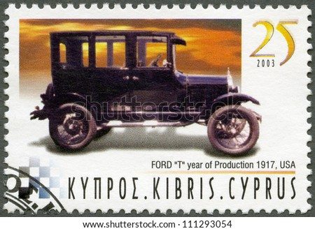 CYPRUS - CIRCA 2003 : A stamp printed in Cyprus shows Ford Model T, year of production 1917, USA, series Antique Automobiles, circa 2003