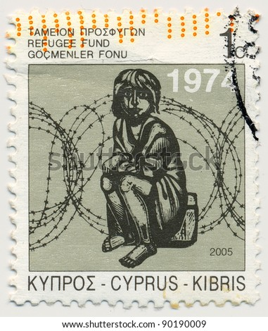CYPRUS - CIRCA 2005: stamp printed by Cyprus, shows Child and Barbed Wire, circa 2005