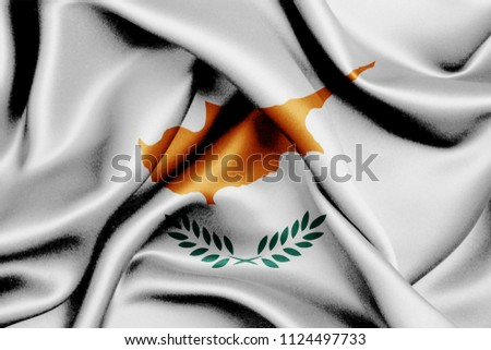 Cyprus fabric flag waving,3D Illustration
