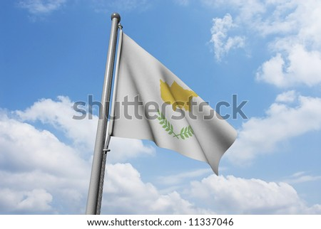 Cyprus flag is waving in front of blue sky and puffy clouds.