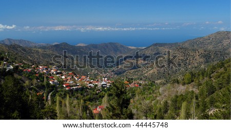 cyprus landscape,   village in troodos mountains