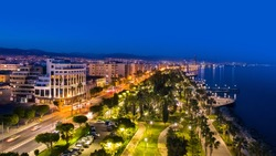 Cyprus. Limassol. Night panorama of the city of Limassol. Marinas on the coast of Limassol. Embankment. Tourism in the Republic of Cyprus. Guide to Cyprus. An island in the Mediterranean.