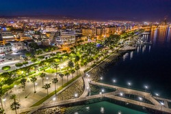 Cyprus. Night Limassol. Night promenade of Limassol. Limassol aerial view. The beaches of the Mediterranean Sea.Travel to Cyprus. Holidays in the Mediterranean.The beaches of Cyprus. Travel to the sea