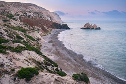 Cyprus. Rock Aphrodite. Morning on the island of Cyprus. Rock Aphrodite with a quadrocopter. A beach next to an aphrodite stone. Sights of Cyprus. Traveling the islands of the Mediterranean
