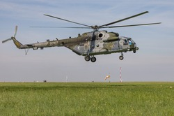 Czech Airforce Mi-171 transport helicopter hovering