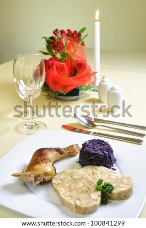 Czech chicken with Carlsbad dumplings, czech cuisine