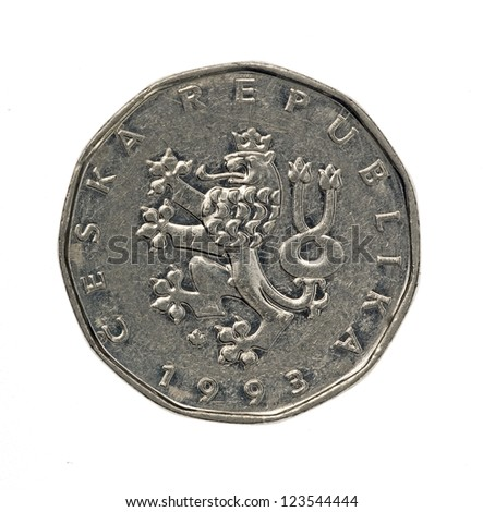 Czech crones coin with crowned heraldic lion