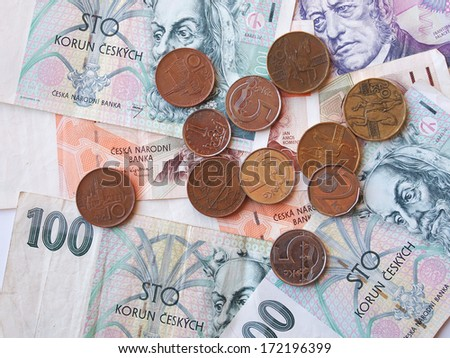 Czech currency (CZK) banknotes useful as a background
