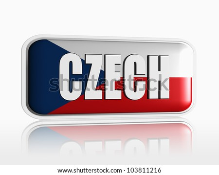 Czech flag 3d banner with white text