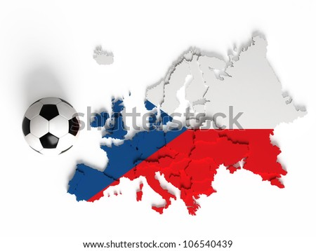 Czech flag on European map with national borders, isolated on white background