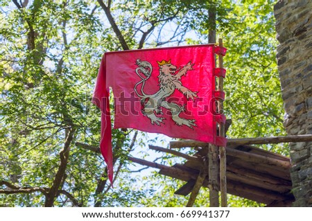 Stock Photo Czech kingdom medieval symbol banner flag of Lion