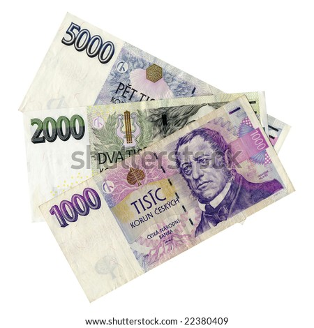 Czech korunas CZK banknotes money european currency