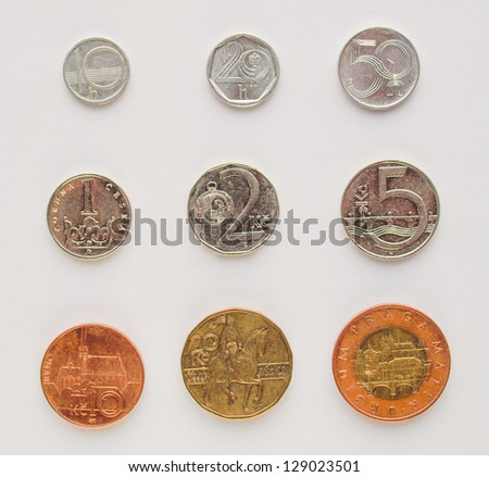Czech korunas CZK (legal tender of the Czech Republic) coins - complete series