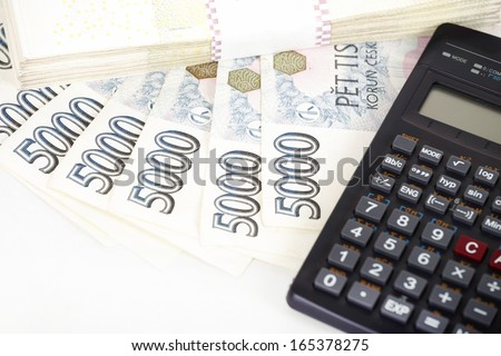 Czech money banknotes, coins and calculator, money concept