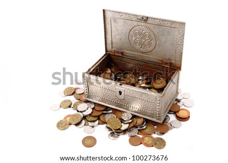 czech money in the silver box isolated on the white background - stock photo