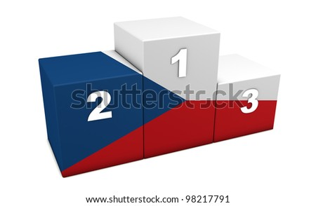 """Czech olympic top positions podium. 3d rendering for concept """" the best of Czech Republic"""". Isolated on white."""