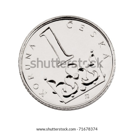 Czech one-crown coin made of nickel-plated steel