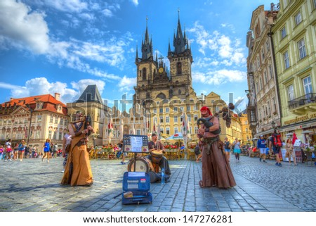 CZECH,PRAGUE -JUL 13: Traditional folk band in the Old town square on Prague ,on July 13,2013 in Prague,Czech Republic