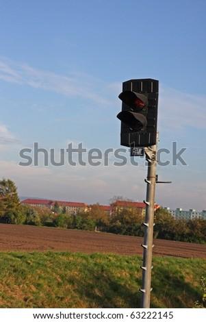 Czech railway semaphore signal - stock photo