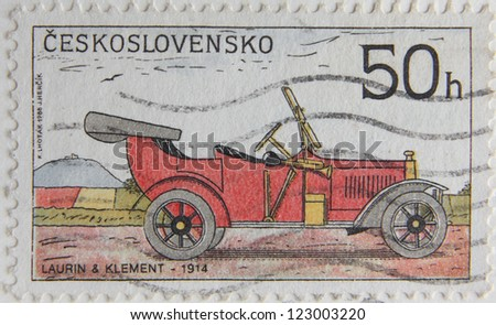 CZECH REPUBLIC - CIRCA 1988: A Post stamp printed by Czechoslovakia shows old-time classical car Laurin and Klement, circa 1988