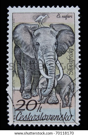 CZECH REPUBLIC- CIRCA 1976: A post stamp printed in Czechoslovakia shows elephant, series African animals , circa 1976