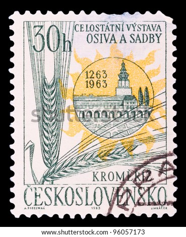 CZECH REPUBLIC-CIRCA 1963 : A post stamp printed in Czechoslovakia shows wheat, devoted National Exhibition of seeds and seedlings, circa 1963