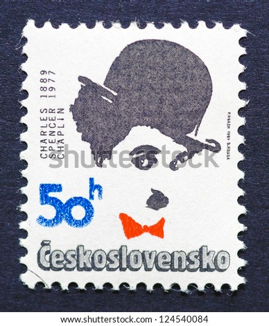 CZECH REPUBLIC � CIRCA 1989: a postage stamp printed in Czech Republic showing an image of Charles Chaplin, circa 1989.