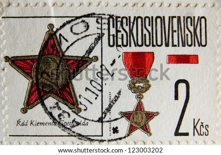 CZECH REPUBLIC - CIRCA 1982: Post stamp printed in Czechoslovakia shows  medal in the form of a star, circa 1982