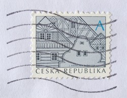 CZECH REPUBLIC, CIRCA 2012 - Stamp depicting traditional Czech architecture, released in the Czech Republic, circa 2012