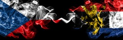 Czech Republic, Czech vs Benelux smoky mystic flags placed side by side. Thick colored silky abstract smoke flags.