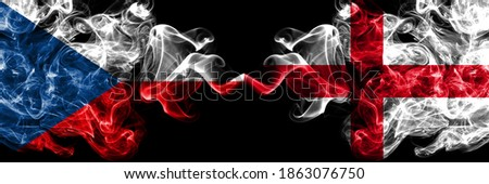 Czech Republic, Czech vs England, English smoky mystic flags placed side by side. Thick colored silky abstract smoke flags. Foto stock ©