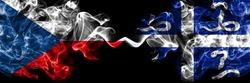 Czech Republic, Czech vs France, French, Martinique smoky mystic flags placed side by side. Thick colored silky abstract smoke flags.