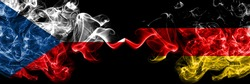 Czech Republic, Czech vs Germany, German, Deutschland smoky mystic flags placed side by side. Thick colored silky abstract smoke flags.