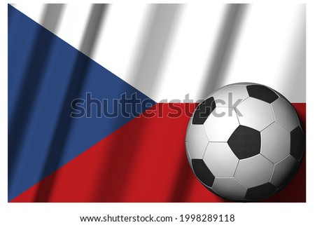 Czech Republic. Czechoslovakia. National flag with soccer ball in the foreground. Sport football - 3D Illustration ストックフォト ©