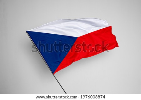 Czech Republic flag isolated on white background with clipping path. close up waving flag of Czech Republic. flag symbols of Czech Republic. Czech Republic flag frame with empty space for your text.  Stock photo ©