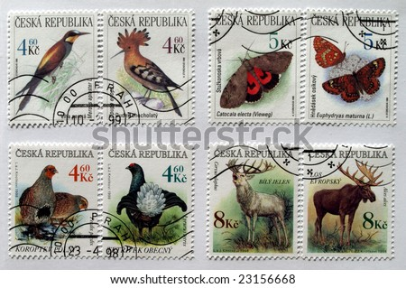 Czech Republic mail postage stamps with animals (deer, moose, butterfly, birds) - stock photo