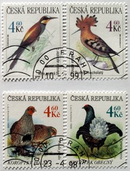 Czech Republic mail postage stamps with birds images depicted on