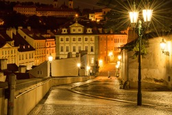 Czech Republic, Prague. 20 August 2015. The street in Prague, in the light of lanterns. The capital of the Czech Republic; the administrative center of the Central Bohemia Region.