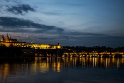 Czech Republic Prague Charles Bridge Castle Cathedral and more at sunset capitol city