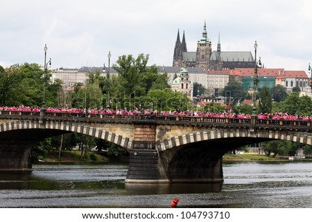 CZECH REPUBLIC,PRAGUE-JUNE 10: Participants and guests celebrate after the final ceremony speeches at Avon Walk for Breast Cancer on JUNE 10, 2011 in  Prague, Czech Republic