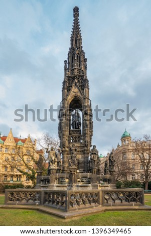 Czech Republic, Prague. Kranner's Fountain or the Hold of Czech Estates is a neo-Gothic monument located in the National Awakening Park on the Smetana Embankment in the Old Town in the Prague 1. #1396349465