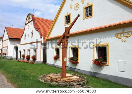 Czech Republic - UNESCO village Holasovice in South Bohemia - stock photo
