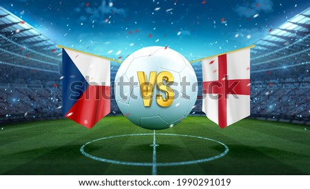 Czech Republic vs England. Soccer concept. White soccer ball with the flag in the stadium, 2021. 3d render Foto stock ©