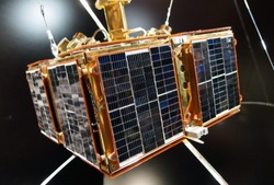 Czech satellite Magion 1 spaceflight. A satellite is an artificial object on Earth orbit. Close up of space science satellite.
