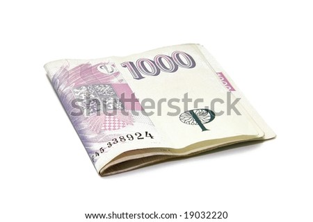 Czech thousand banknotes money