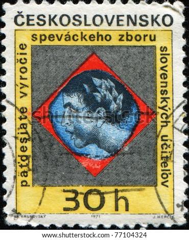 CZECHOSLOVAKIA - CIRCA 1971: A post stamp printed in Czechoslovakia honoring 50th Anniversary of Chorister (Slovak Teacher's Choir), circa 1971