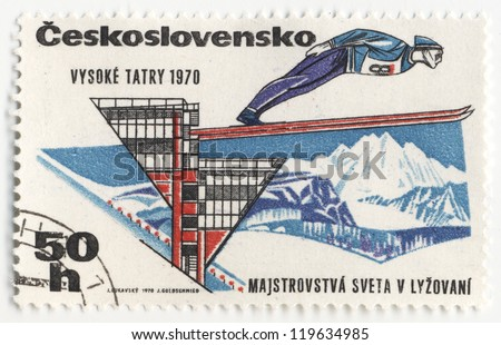 CZECHOSLOVAKIA - CIRCA 1970: A post stamp printed in Czechoslovakia shows ski jumper, dedicated to the  World Cup in skiing in High Tatras, series, circa 1970