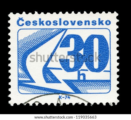 Czechoslovakia- CIRCA 1974: A post stamp printed in Czechoslovakia shows wings, circa1974